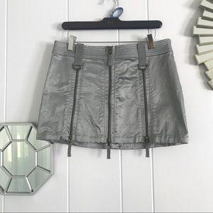 Guess Jeans Gray Silky Look Zipper Mini Skirt 30